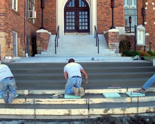 Entrance steps at the First Presbyterian Church in Fort Scott, KS
