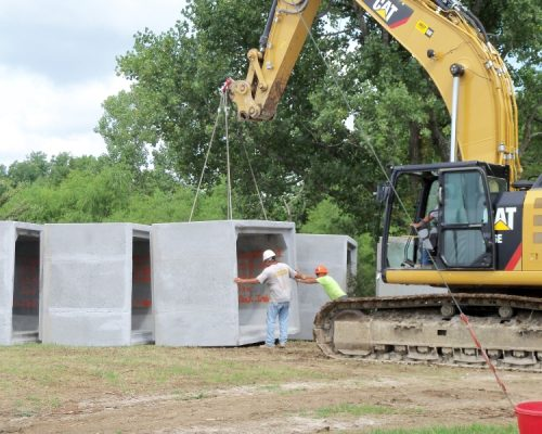 Pleasanton Spillway - Unloading the precast boxes off of the delivery truck
