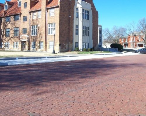 Sidewalk, curb and entrance steps at the First Presbyterian Church in Fort Scott, KS