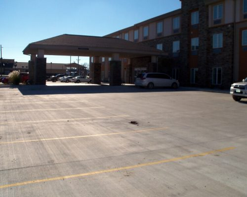 Finished parking lot at the Sleep Inn Hotel in Fort Scott, KS