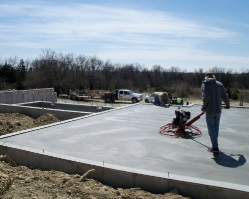 Marbery Concrete laying a residential basement in Moran, KS