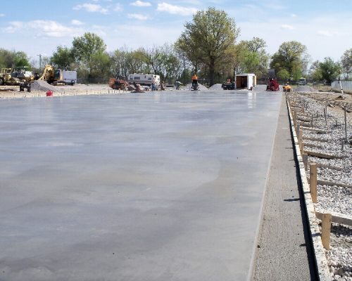 Concrete slab in Pittsburg, KS which will be Country Side Self Storage